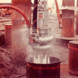 Model: DP 20 with Water Jets Application: For pumping Sand and Clay for Bridge Support Caissons Customer: USA
