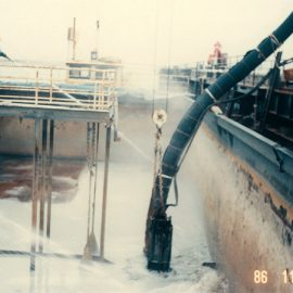 Model: Toyo Pump DP 30 B Application: Unloading of Silica from Barge. Customer: Glass Factory, Japan.
