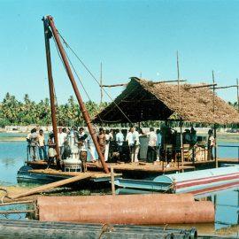 Model: DP 100 B on temporary Pontoon Application: For sand dredging Customer: Harbour Engg. Dept., Kerala, Neendakara Fishing Harbour